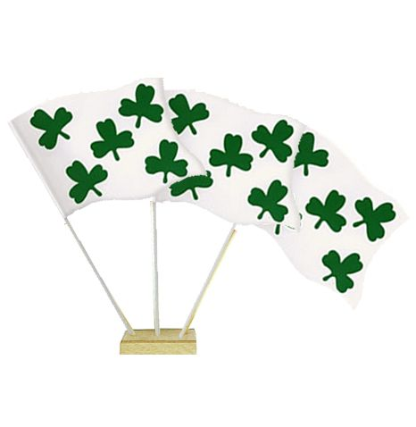 "St. Patrick's Day Shamrock Table Flags 6"" on 10"" Pole"