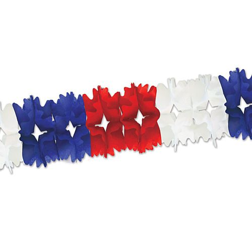 Red, White and Blue Tissue Garland - Giant - 4.4m