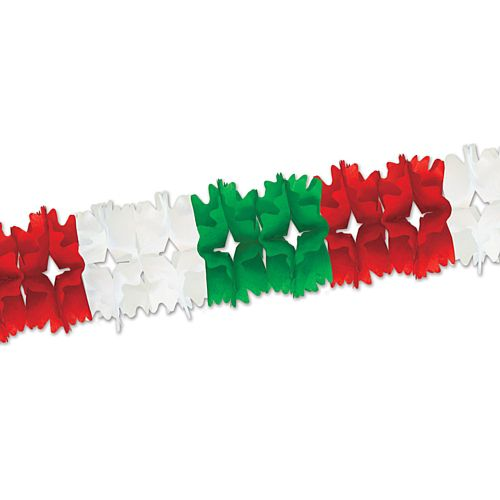 Red White and Green Giant Tissue Garland - 4.4m