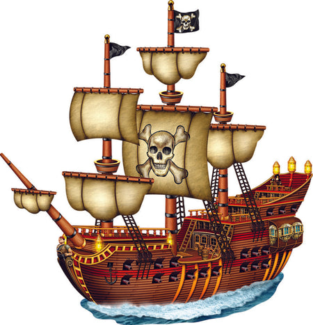 Pirate Ship Jointed Cutout Wall Decoration 78cm