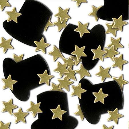 Click to view product details and reviews for Top Hat Gold Star Confetti 1oz.