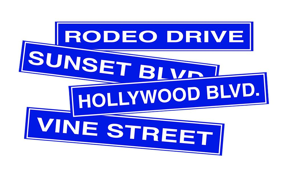 Hollywood Street Signs - Set of 4 - 24""