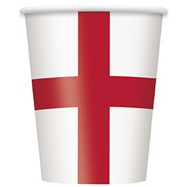 England St Georges Flag Cups 266ml Pack Of 8