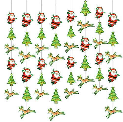 Santa and Christmas Tree String Decoration - 2.1m - Pack of 6