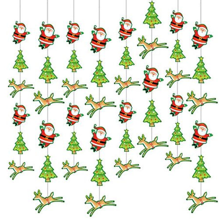 Santa And Christmas Tree String Decoration 21m Pack Of 6