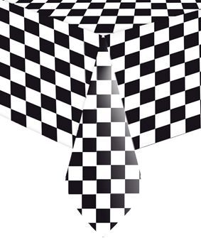 Black and White Checkered Plastic Tablecloth - 1.4m x 2.8m