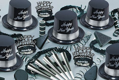 Silver Legacy New Year Hat and Novelty Party Pack for 50 People