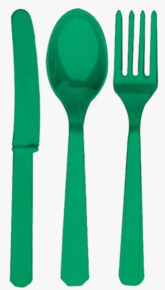 Green Plastic Cutlery - Pack of 24