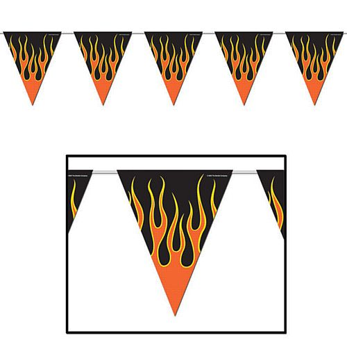 Flame 'All Weather' Bunting - 3.7m (12') - 12 Flags