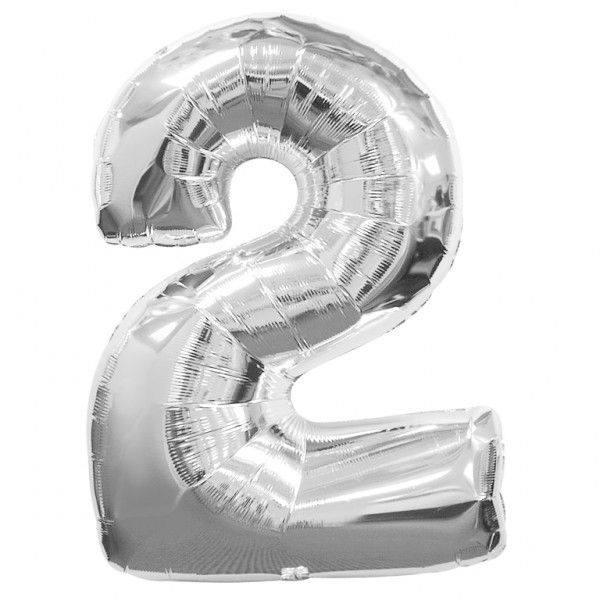 Silver Number 2 Foil Balloon - 35""