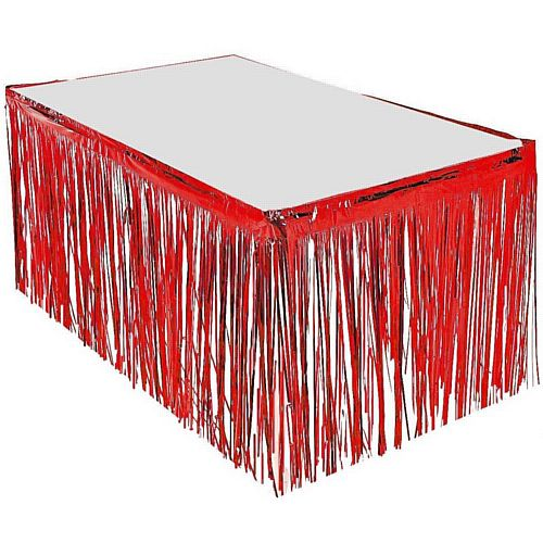 Red Metallic Table Skirting - 76cm x 4.3m