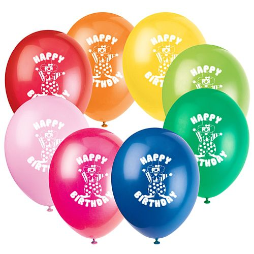 "Happy Birthday Clown Balloons - 10"" - Pack of 10"