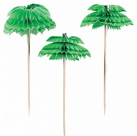 Palm Tree Honeycomb Picks - 7.6cm - Pack of 12