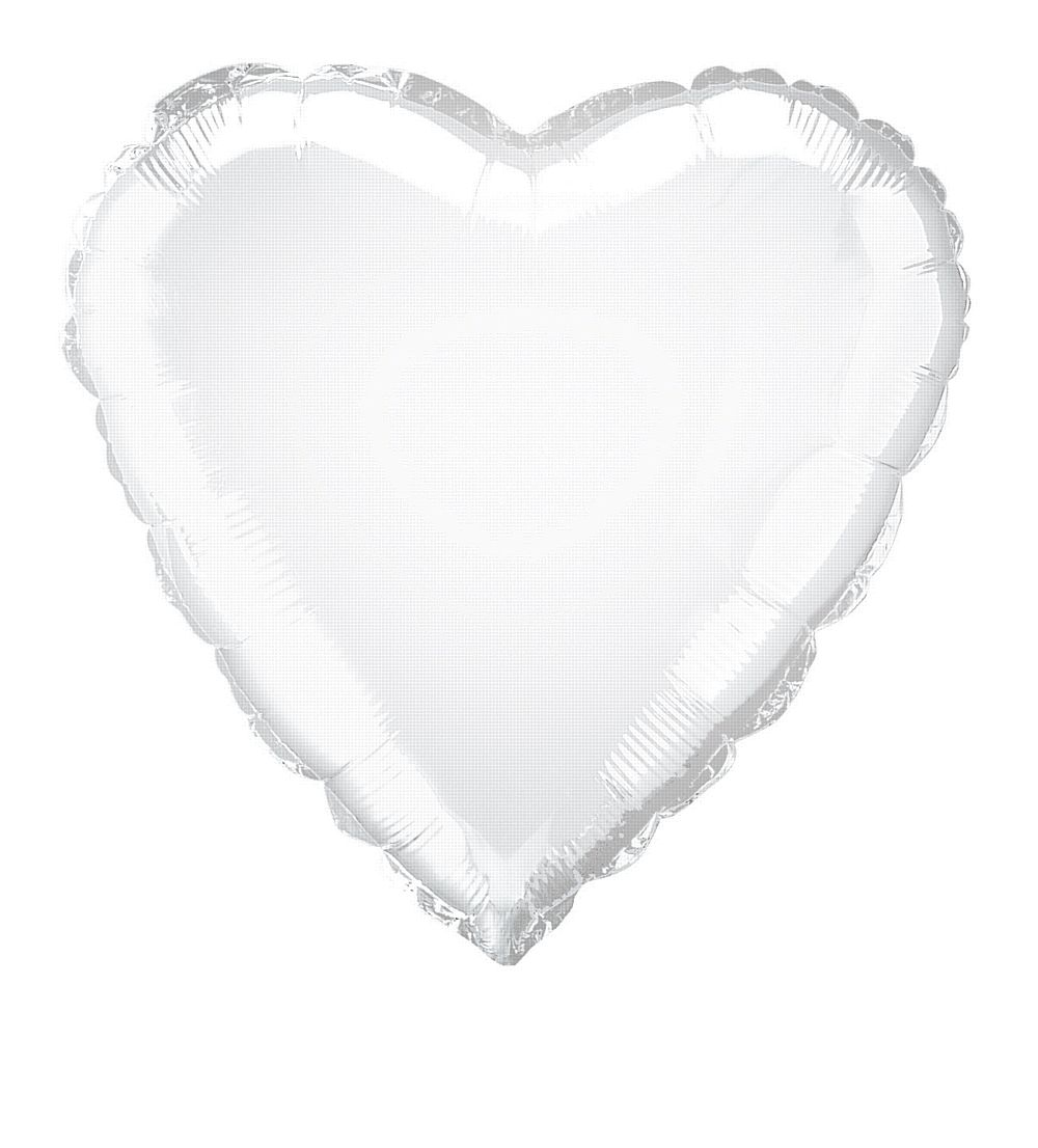 White Heart Shaped Foil Balloon 18""