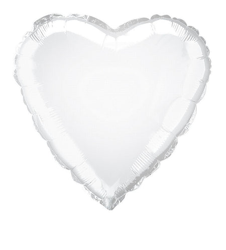 White Heart Shaped Foil Balloon 18