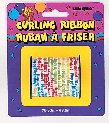 Happy birthday curling ribbon - 68.6m