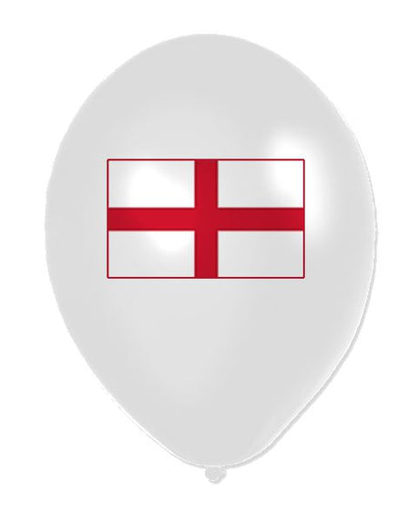 England St George Flag Latex Balloons 11 Pack Of 10