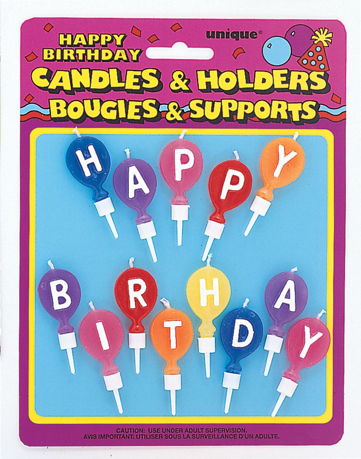 Happy Birthday Letter Candles with Holders