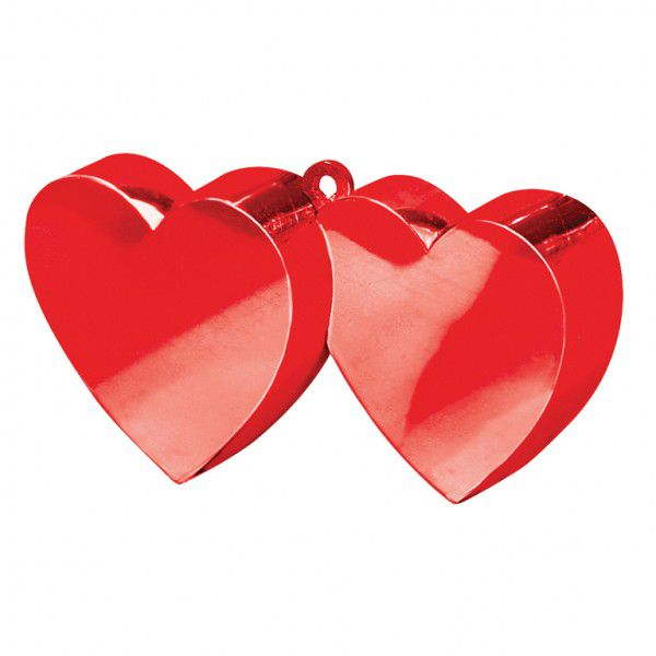 Double Heart Red Balloon Weight
