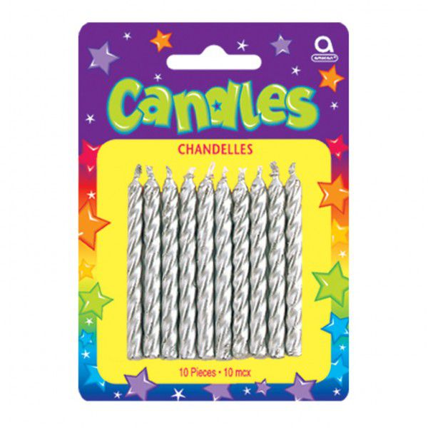 Silver Metallic Spiral Candles - Pack of 10