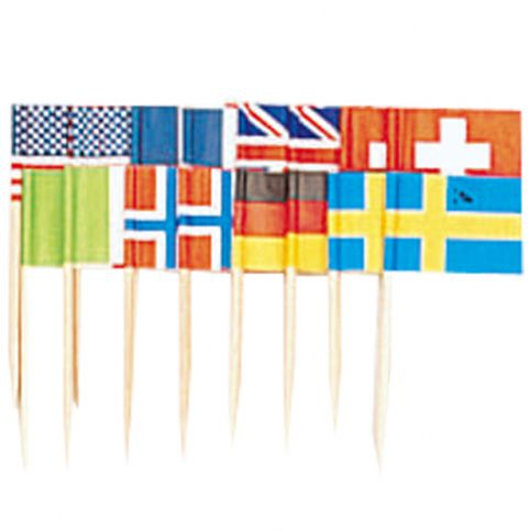 International Flag Food Picks - Pack of 50