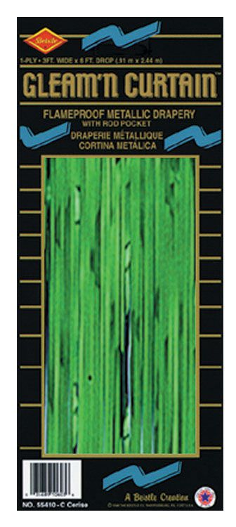 Green Shimmer Curtain - Flame Retardent - 2.44m x 92cm