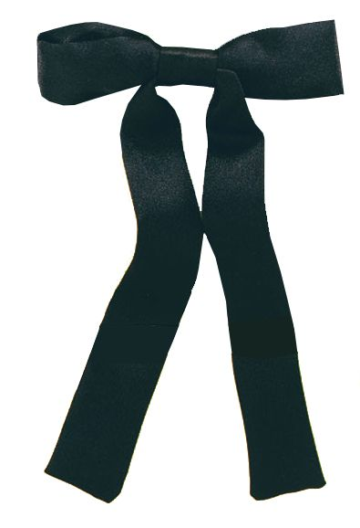 Western Black Ribbon Bow Tie