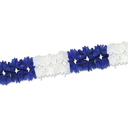 Blue and White Tissue Garland -Giant - 4.4m