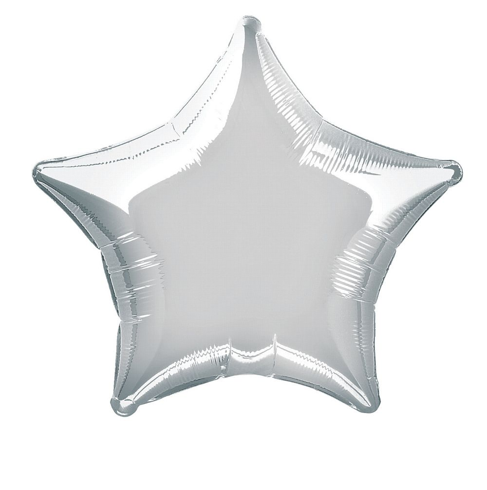 Silver star foil balloon 19""