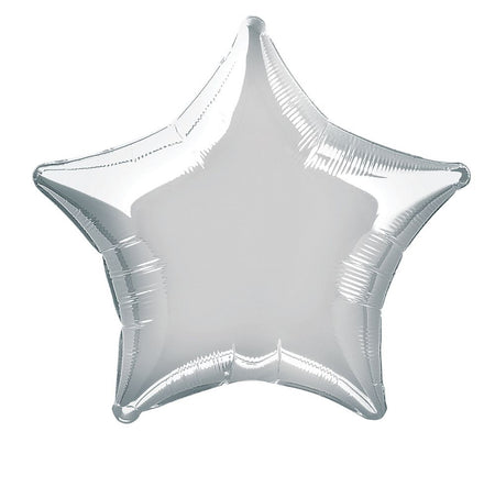 Silver star foil balloon 19