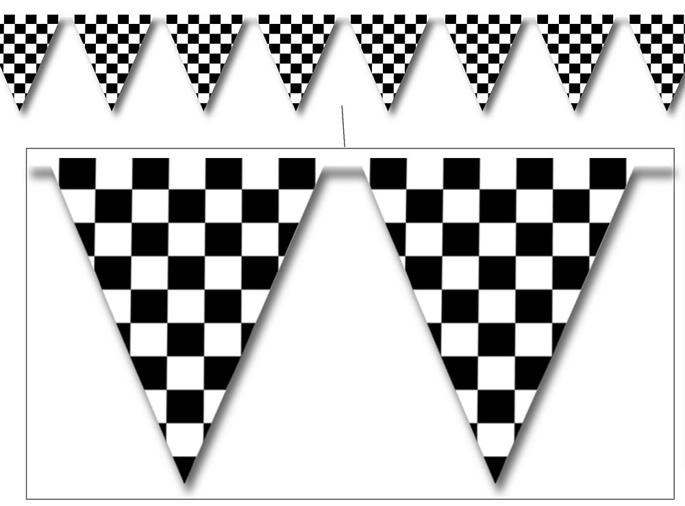Checkered Flag Plastic Bunting - 3.66m