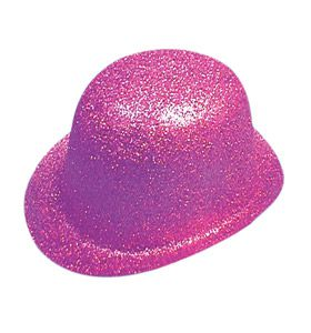 Pink Glitter Bowler Hat