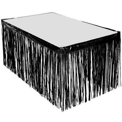 Black Metallic Table Skirting - 76cm x 4.3m