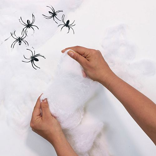 Halloween Giant White Spiders Web Decoration - 5 Spiders Included - 40g