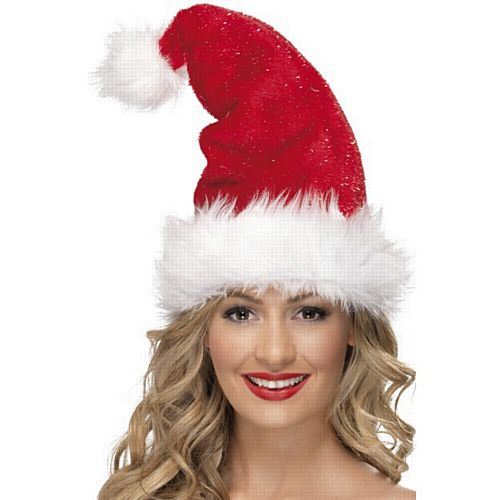 Deluxe Santa Plush Fur Hat With Tinsel