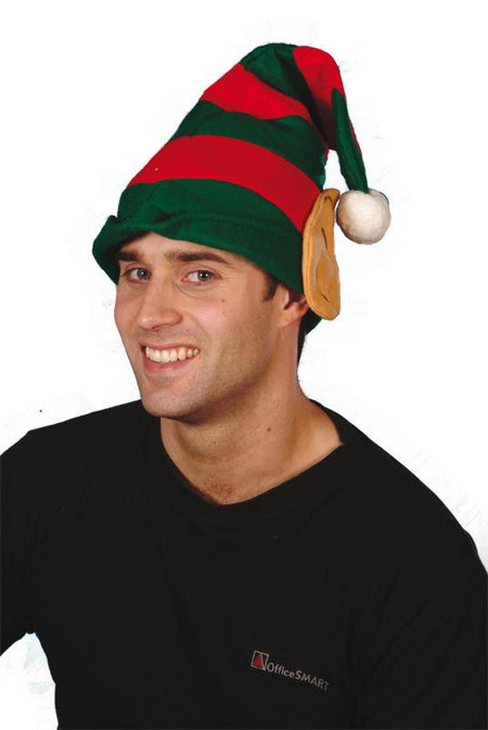 Red & Green Elf Hat with Ears