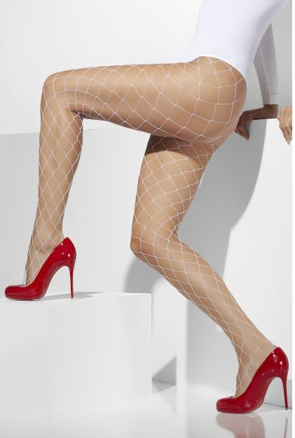 White Fishnet Tights With Large Mesh