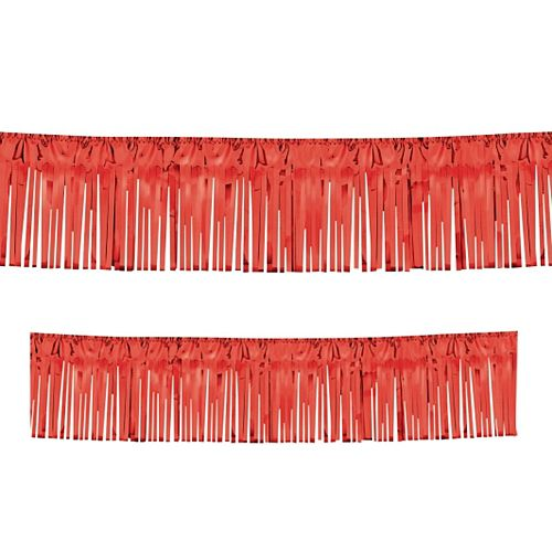 Red Metallic Fringed Drapes - 3m