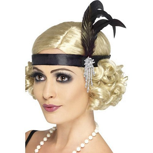 Black Charleston Satin Headband With Feather