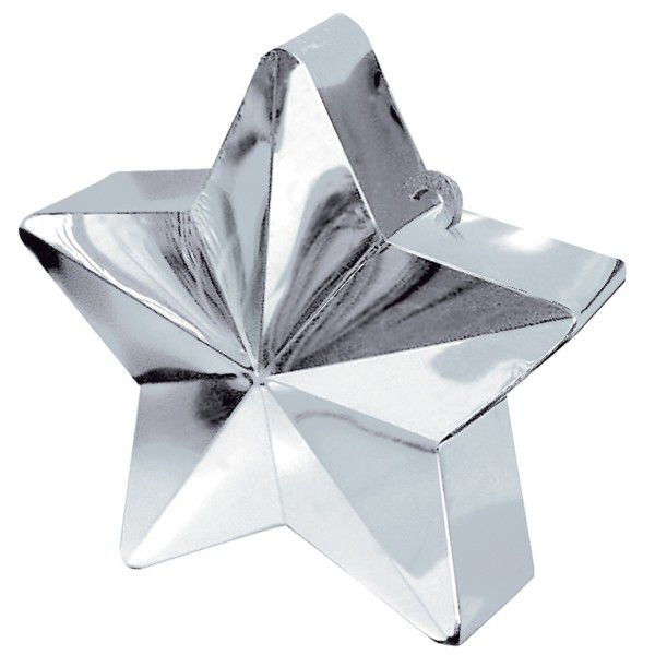 Silver Star Balloon Weight - 6oz - 10cm