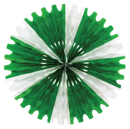 Green & White Paper Fan - 63.5cm