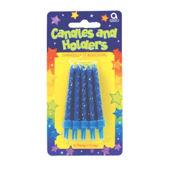 Blue Glitter Candles & Holders - Pack of 10