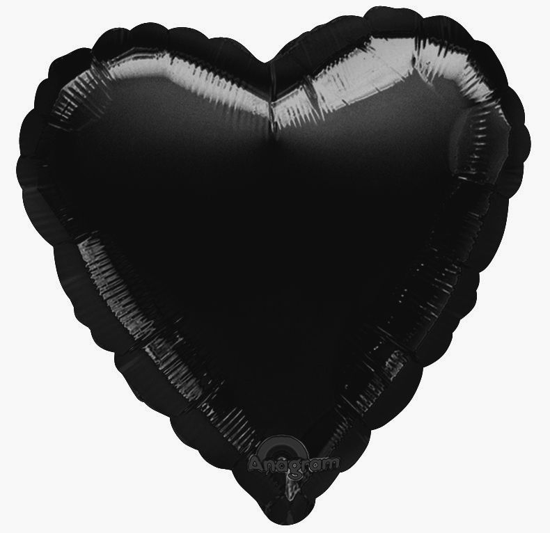 Black Heart Shaped Foil Balloon 18""