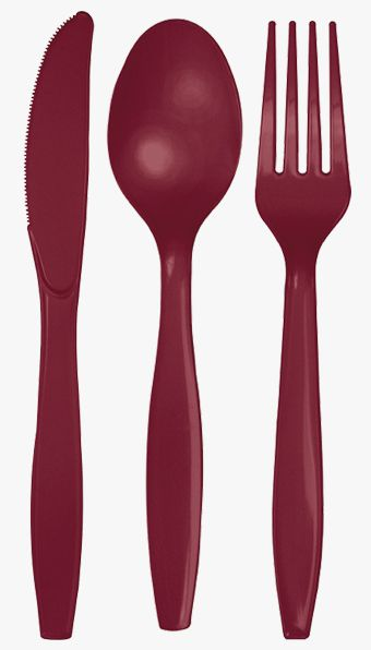 Burgundy Cutlery - Pack of 24