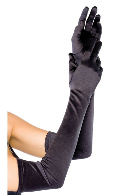 Long Black Satin Opera Gloves