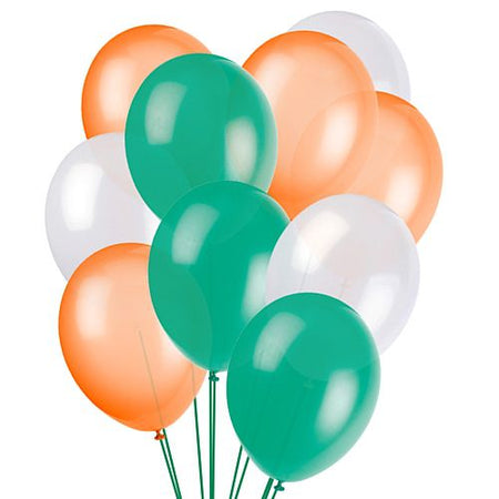 Green, White and Orange Latex Balloons - 10