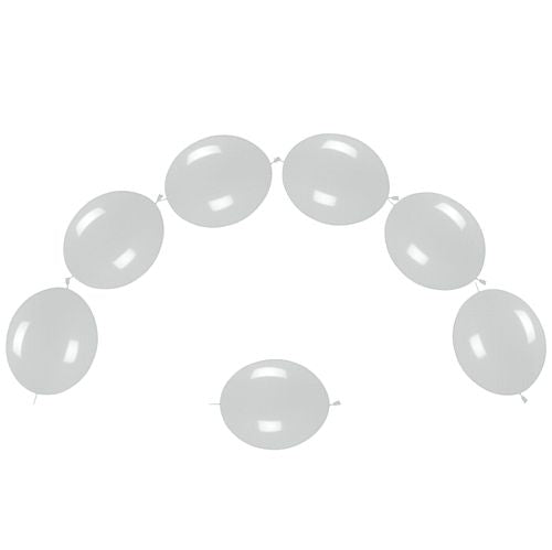 "Silver Pearlised Link-O-Loons 12"" - Pack of 25"