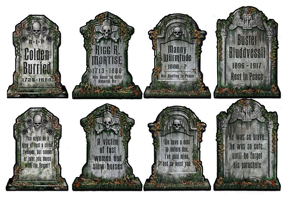 Funny Tombstone Cutouts - Set of 4 - 16""