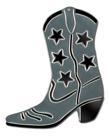 Click to view product details and reviews for Silver Foil Cowboy Boot Silhouette 16.