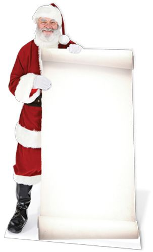 Santa Claus With Large Sign Lifesize Cardboard Cutout - 1.80m